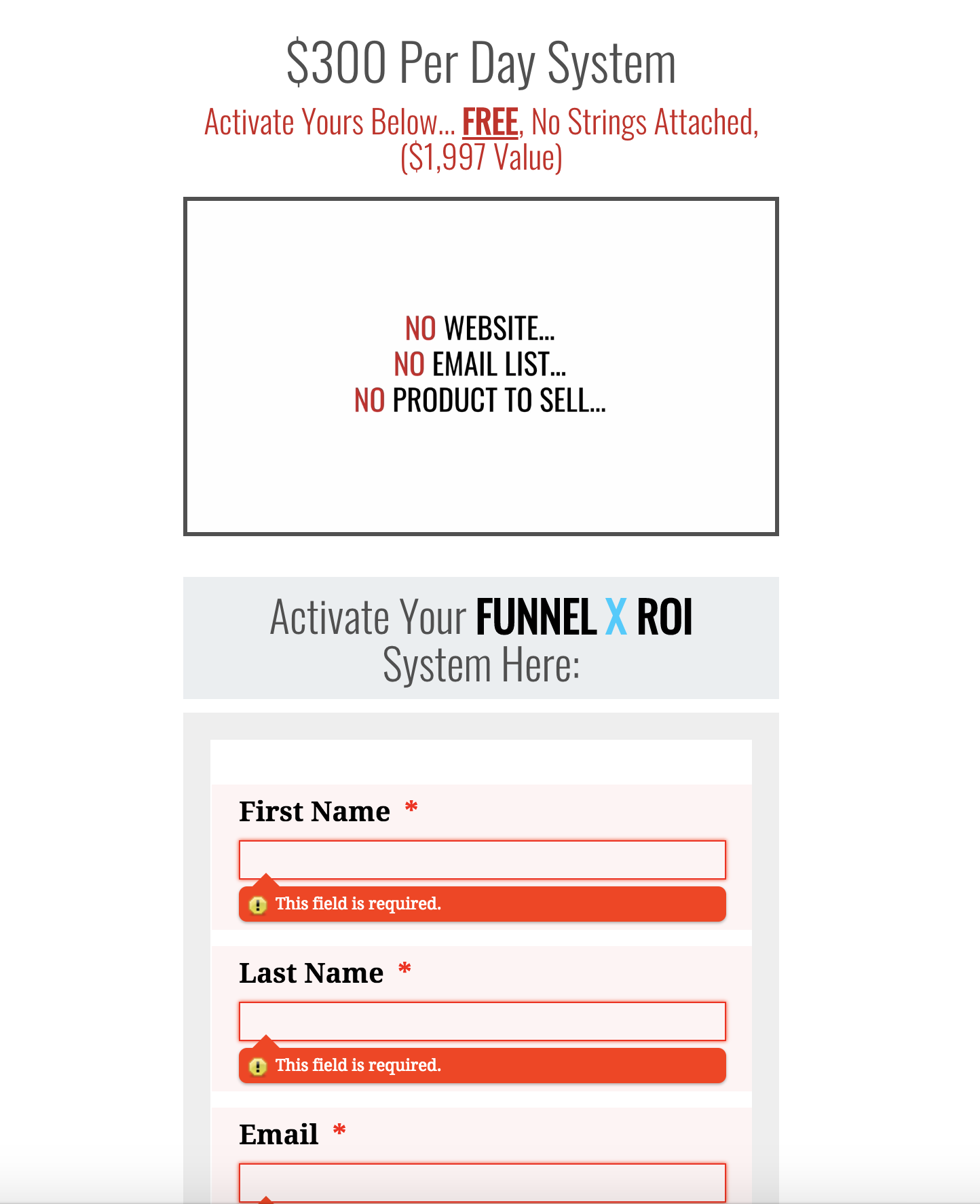 Funnel X ROI Website